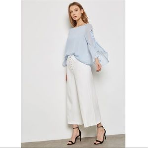 TopShop Eyelet Lace Up Flute Sleeve Top Blouse